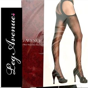 Leg Avenue Sheer Suspender Pantyhose XL NWT